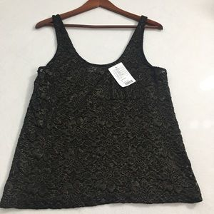 UO Pins And Needles Black Gold Lace Tank T…